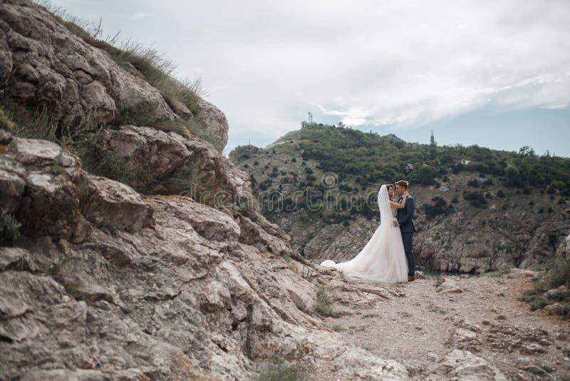 Ślubna fotografia młoda para państwo młodzi w górzystym terenie w lecie zdjęcie stock
