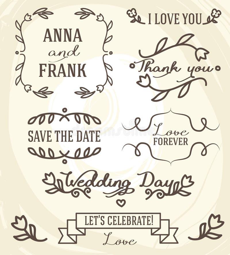 Ślubna grafika ustawiająca: ramy, faborki, przylepiają etykietkę i kwitną ilustracja wektor