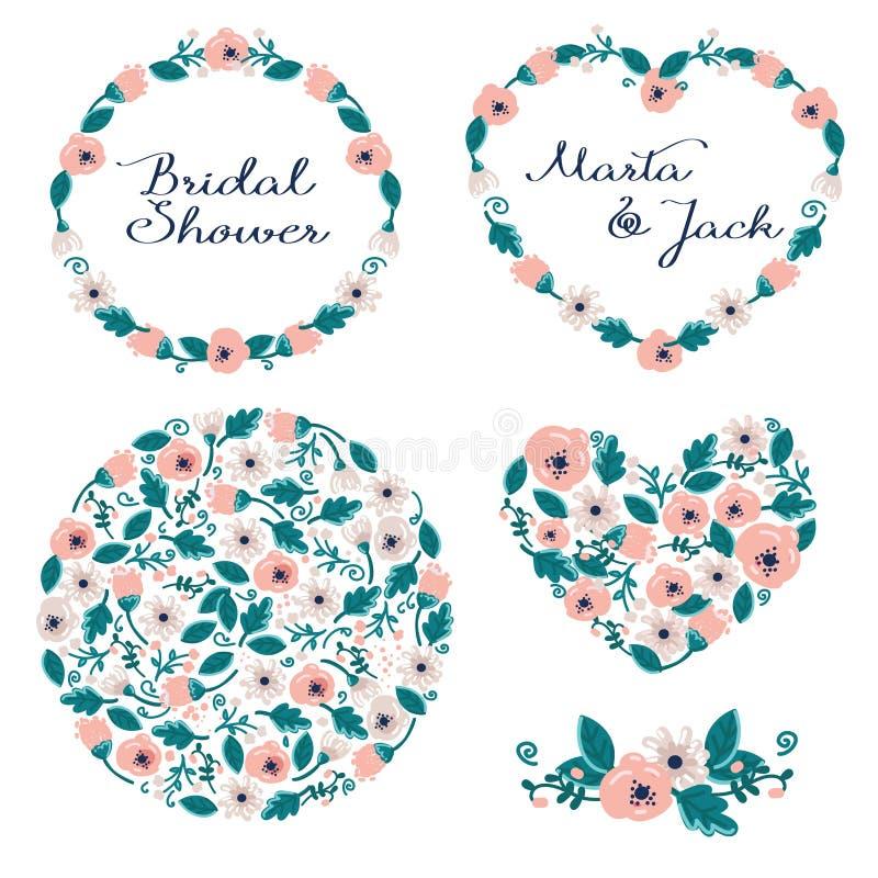 Ślubna grafika ustawiająca: ramy, wianek i kwiaty, ilustracji