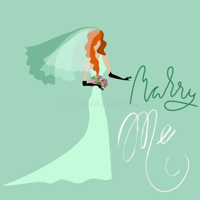 Ślubna karta w Retro stylu ja wesoło Grunge literowania Czerwona panna młoda w zieleni sukni ilustracja wektor