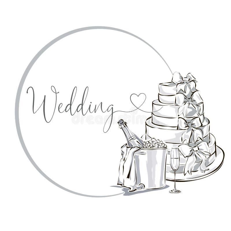 Ślubna klamerki sztuka ustawiająca z szampańską butelką w lodowym wiadrze, wina szkło, ślubny tort, czarny i biały ślubna karta i ilustracja wektor