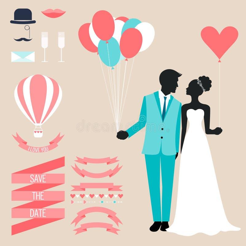 Ślubna kolekcja z panną młodą, fornal sylwetką i romantycznymi dekoracyjnymi elementami na miękkim beżowym tle, royalty ilustracja
