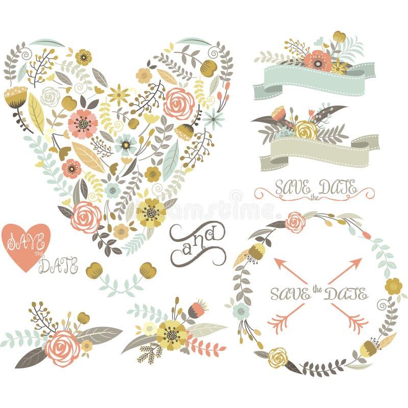 Ślubna Kwiecista kolekcja elementy Serca, strzała, kwiaty, wianki, bobek ilustracji