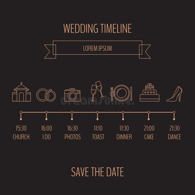 Ślubna linia czasu infographic Wektorowa ilustracja, mieszkanie styl royalty ilustracja