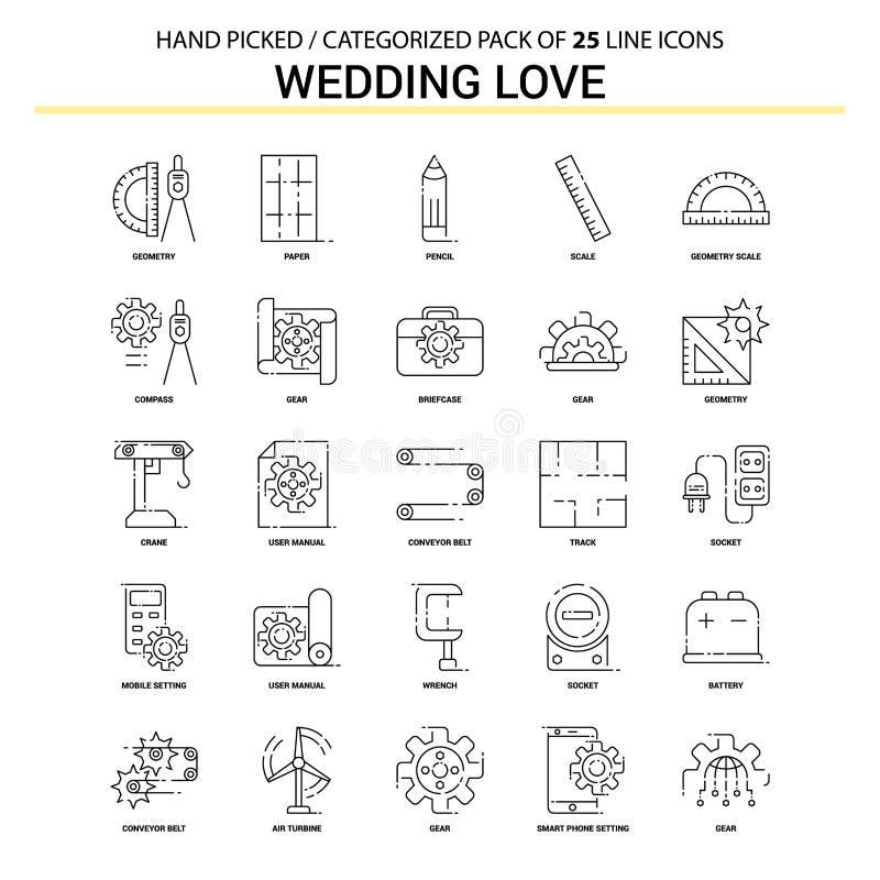 Ślubna miłości mieszkania linii ikona Ustawiająca - Biznesowy pojęcie ikon projekt ilustracji