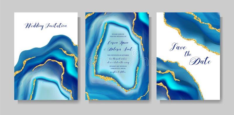 Ślubna mody geoda lub marmuru szablon, artystyczny pokrywa projekt, kolorowej tekstury realistyczni tła Modny wzór ilustracja wektor