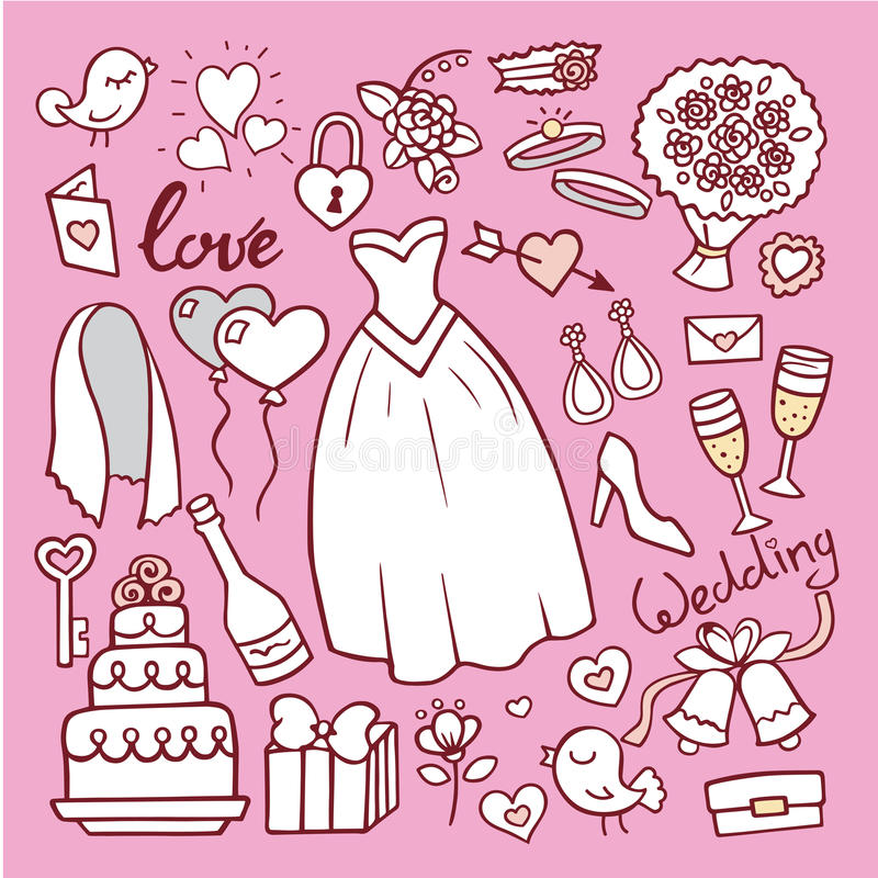 Ślubna mody panny młodej sukni doodle stylu wektoru ilustracja ilustracja wektor