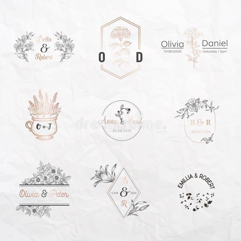 Ślubna monogram kolekcja, Kwieciści szablony dla zaproszenie kart, Save datę, logo tożsamość dla restauracyjnego butika royalty ilustracja