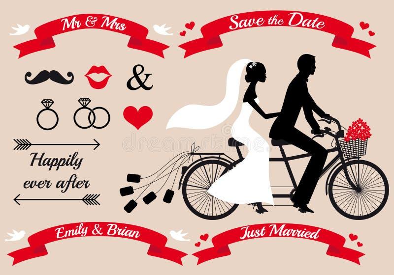 Ślubna para na tandemowym bicyklu, wektoru set ilustracji