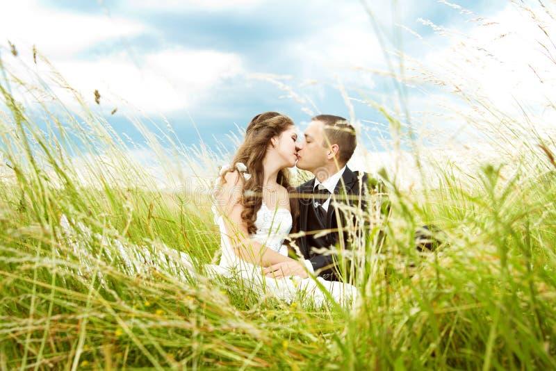 Ślubna para, państwa młodzi całowanie w trawie fotografia royalty free