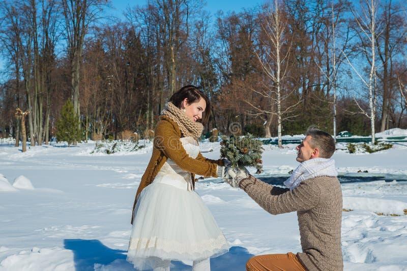 Ślubna para w widowiskowym więdnie dzień, chodzi, geometria wieśniaka stylu skrótu ślubna suknia Dziewczyny brunetka piękna panna fotografia royalty free