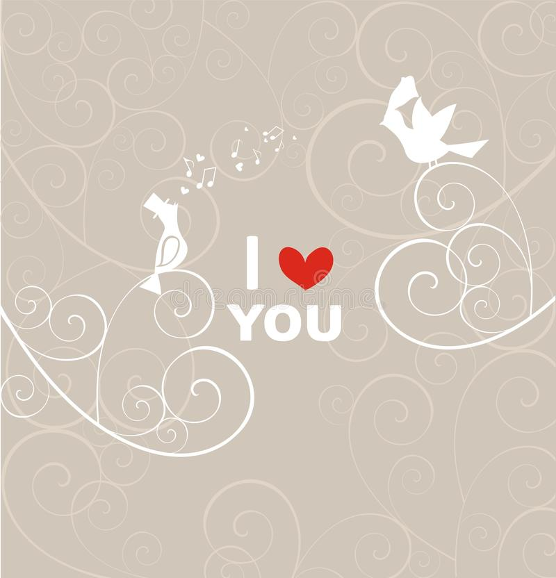 Ślubna pastel karta z parą uroczy ptaki royalty ilustracja