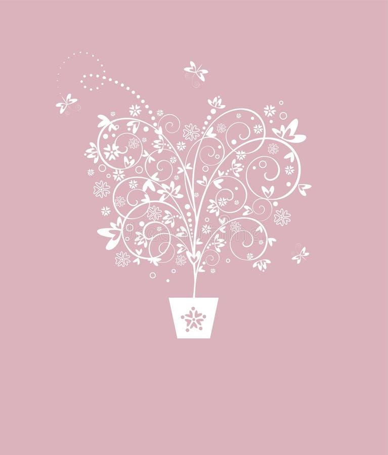 Ślubna pastel karta z pięknym dekoracyjnym drzewem royalty ilustracja