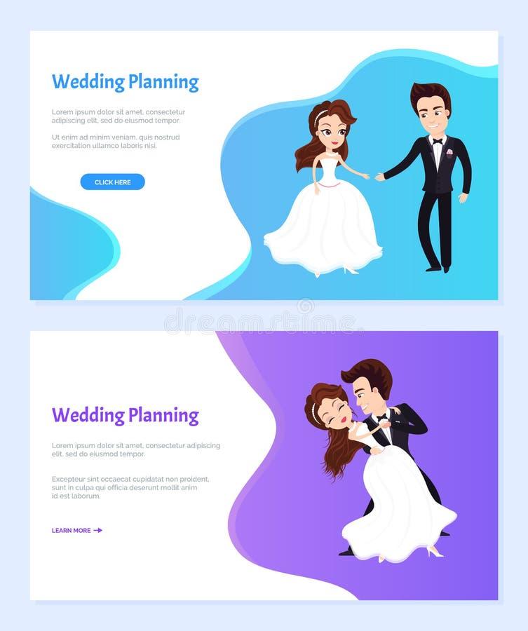 Ślubna planowanie kobiety i mężczyzny Dancingowa strona internetowa royalty ilustracja