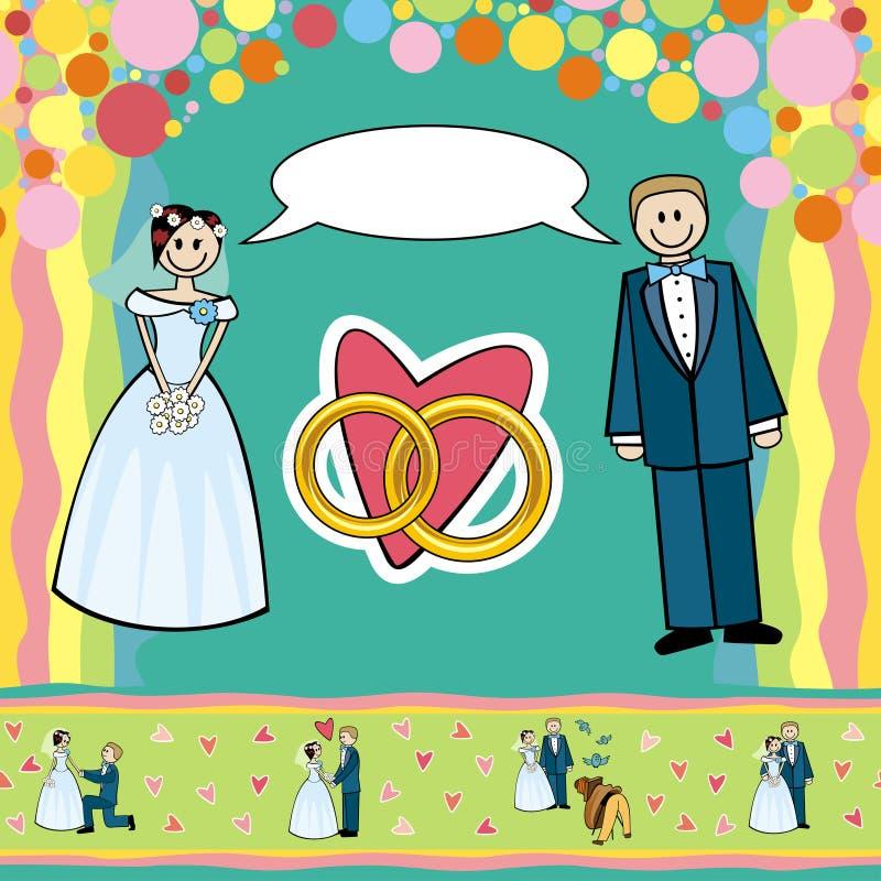 Ślubna pocztówka ilustracji