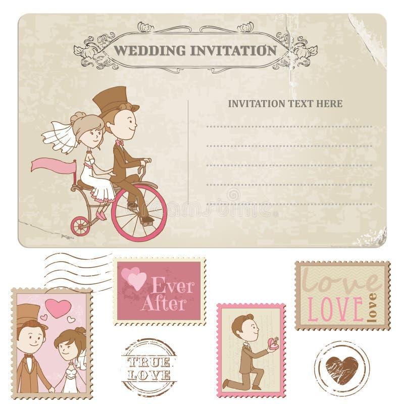 Ślubna pocztówka i znaczek pocztowy ilustracja wektor