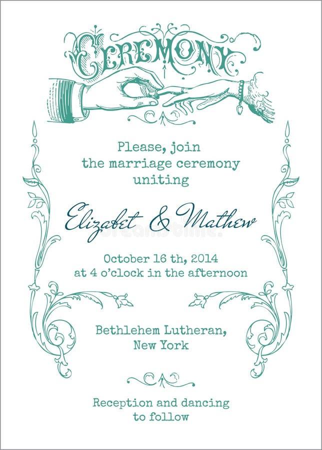 Ślubna rocznika zaproszenia karta royalty ilustracja