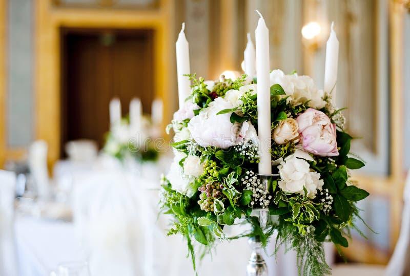 Ślubna stołowa dekoracja obraz royalty free