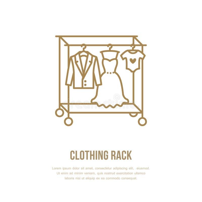 Ślubna suknia, mężczyzna nadaje się, dzieciaki odziewa na wieszak ikonie, odziewa stojaka kreskowego loga Mieszkanie znak dla odz royalty ilustracja