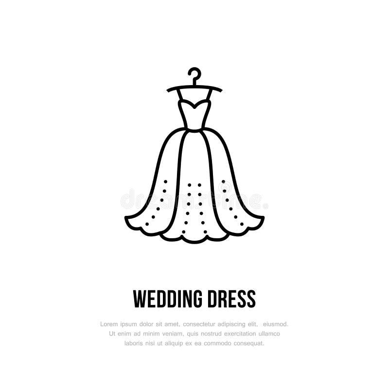Ślubna suknia na wieszak ikonie, odziewa sklepu kreskowego loga Mieszkanie znak dla odzieży kolekci Logotyp dla pralni, odziewa ilustracji