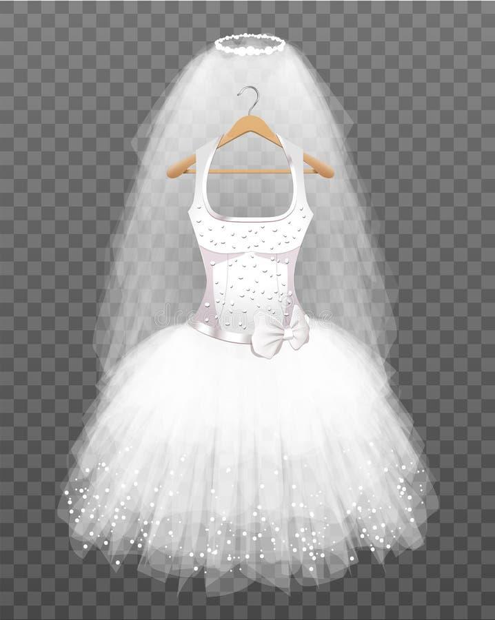 Ślubna suknia z przesłoną ilustracja wektor