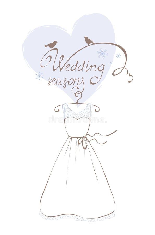 Ślubna suknia - zimy kolekcja ilustracja wektor