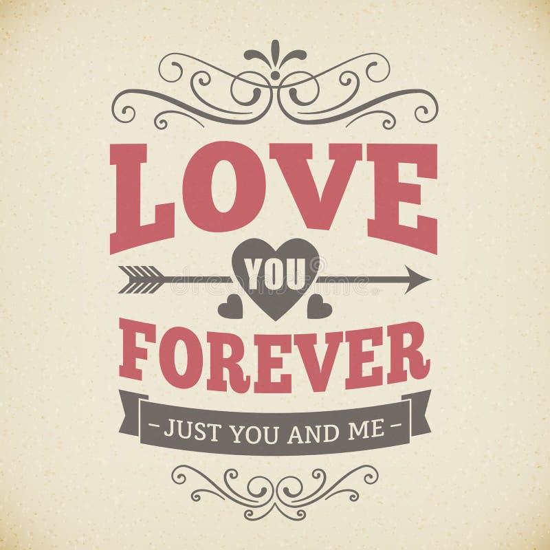 Ślubna typografii miłość ty na zawsze rocznika tła karciany projekt royalty ilustracja