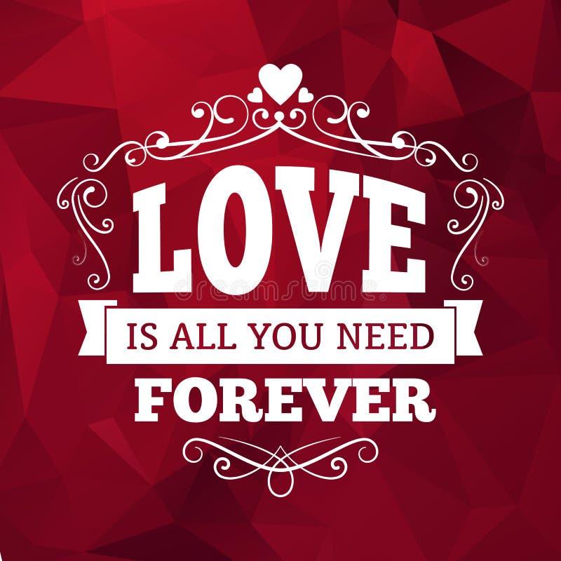 Ślubna typografii miłość ty na zawsze rocznika tła karciany projekt ilustracji