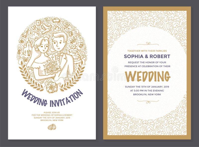 Ślubna zaproszenia Doodle karta royalty ilustracja