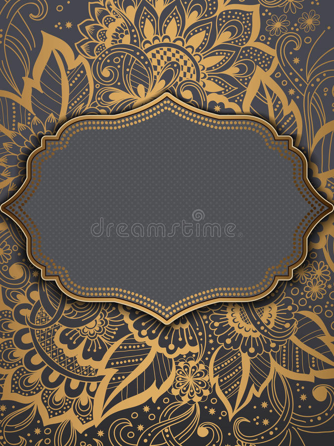 Ślubna zaproszenia i zawiadomienia karta z ornamentem w Arabskim stylu Arabesku wzór Wschodni etniczny ornament royalty ilustracja