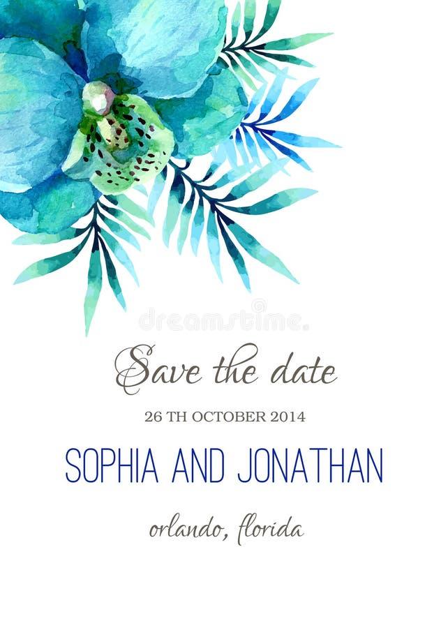 Ślubna zaproszenie akwarela ilustracji