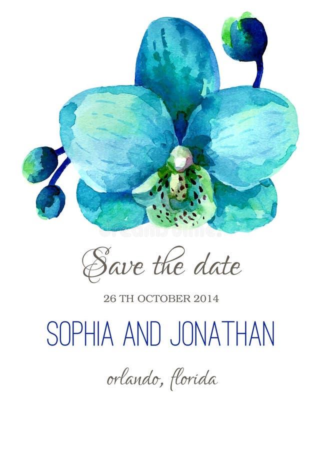 Ślubna zaproszenie akwarela z kwiatami ilustracja wektor