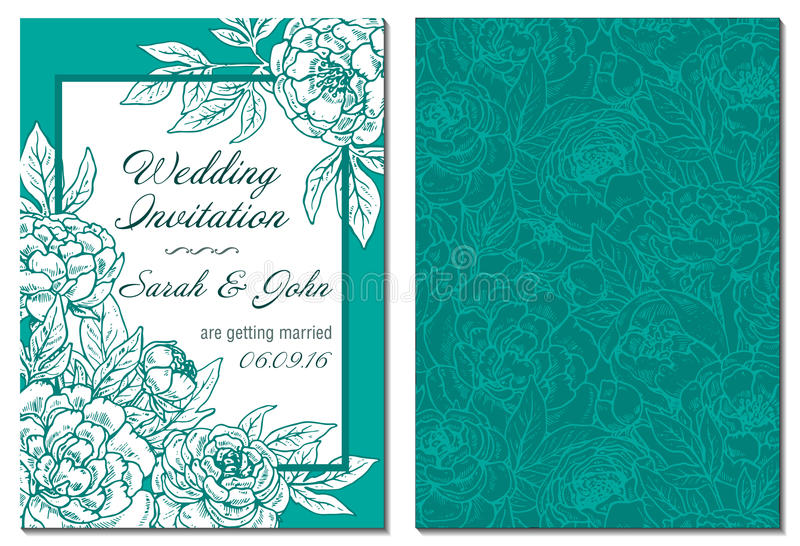 Ślubna zaproszenie bielu i zieleni ręka rysująca peonia kwitnie