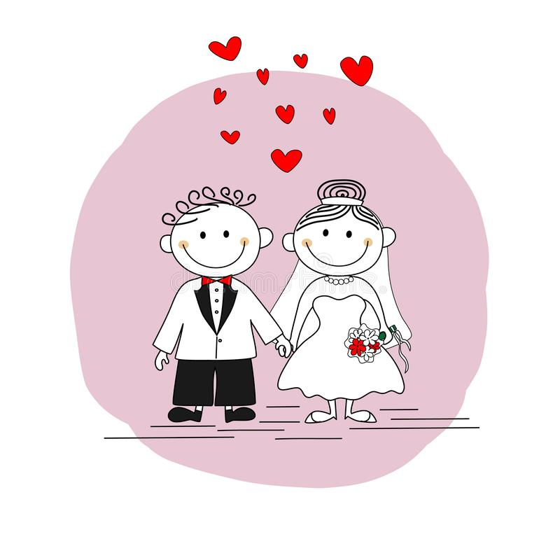 Ślubna zaproszenie karta - Śliczna para małżeńska ilustracji
