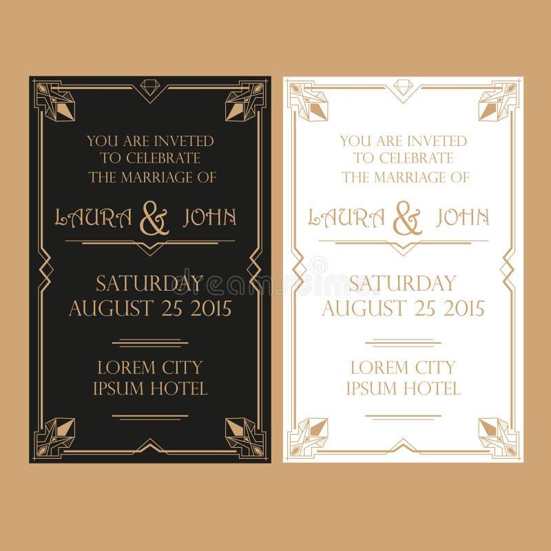 Ślubna zaproszenie karta - art deco rocznika styl ilustracji