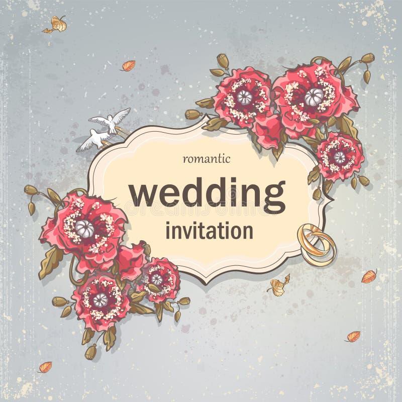 Ślubna zaproszenie karta dla twój teksta na szarym tle z maczkami, obrączkami ślubnymi i gołąbkami, ilustracji