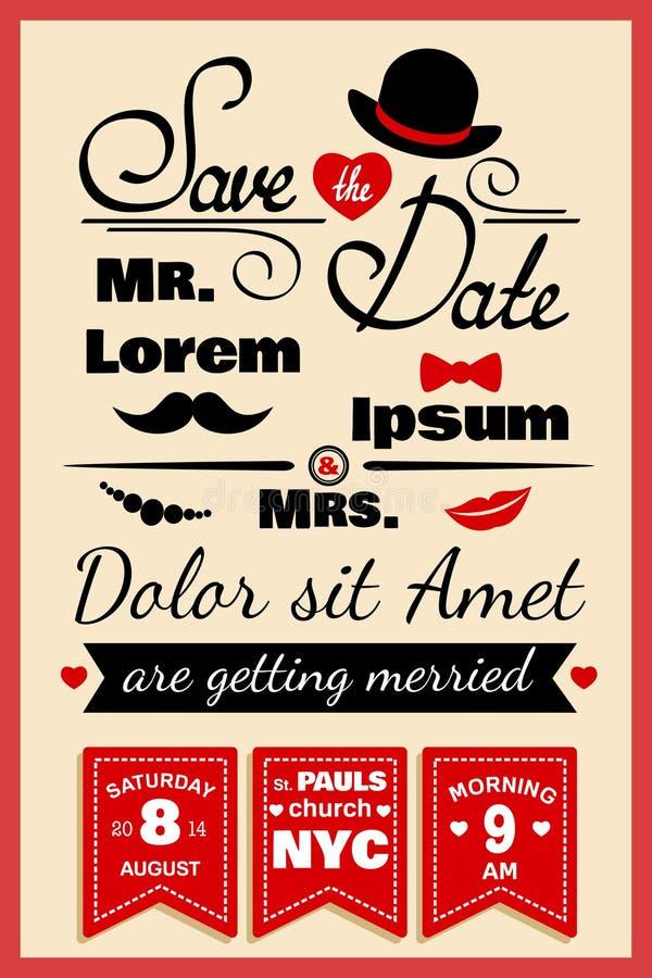 Ślubna zaproszenie karta w modnisia stylu ilustracji