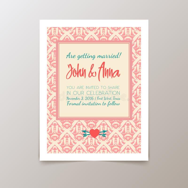 Ślubna zaproszenie karta z geometrycznym rocznikiem royalty ilustracja