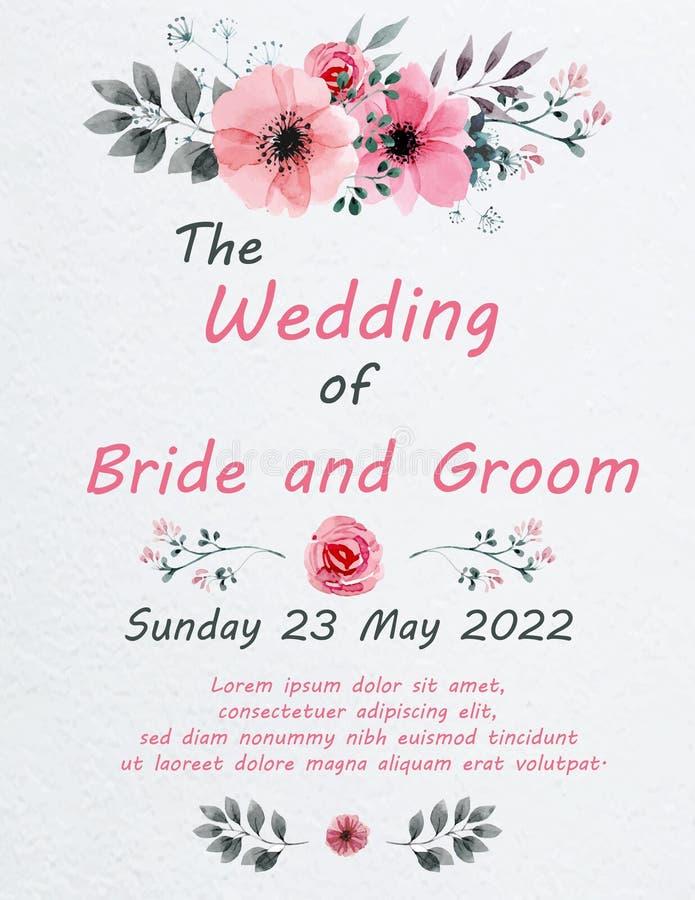 Ślubna zaproszenie karta z kwiatami royalty ilustracja
