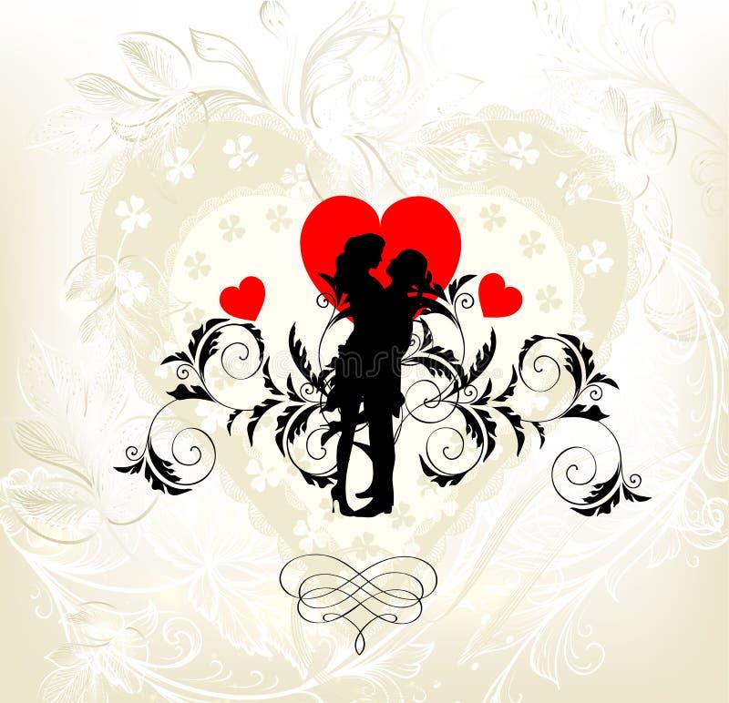 Ślubna zaproszenie karta z parą młody bridal ilustracja wektor