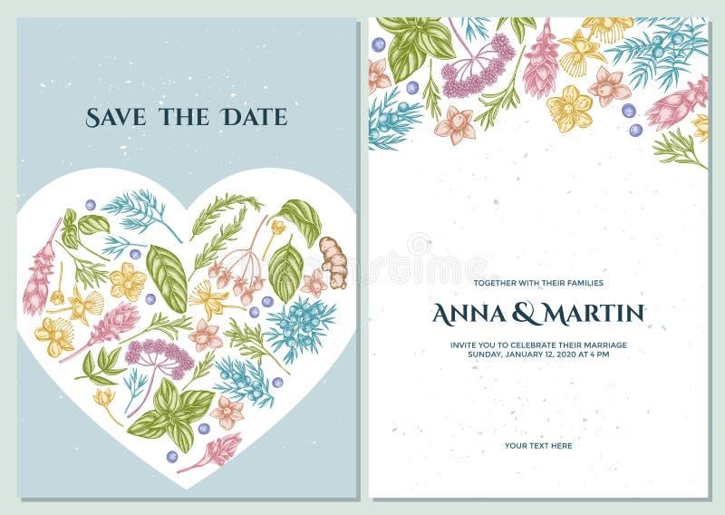Ślubna zaproszenie karta z pastelowym arcydzięglem, basil, jałowiec, hypericum, rozmaryn, turmeric ilustracja wektor