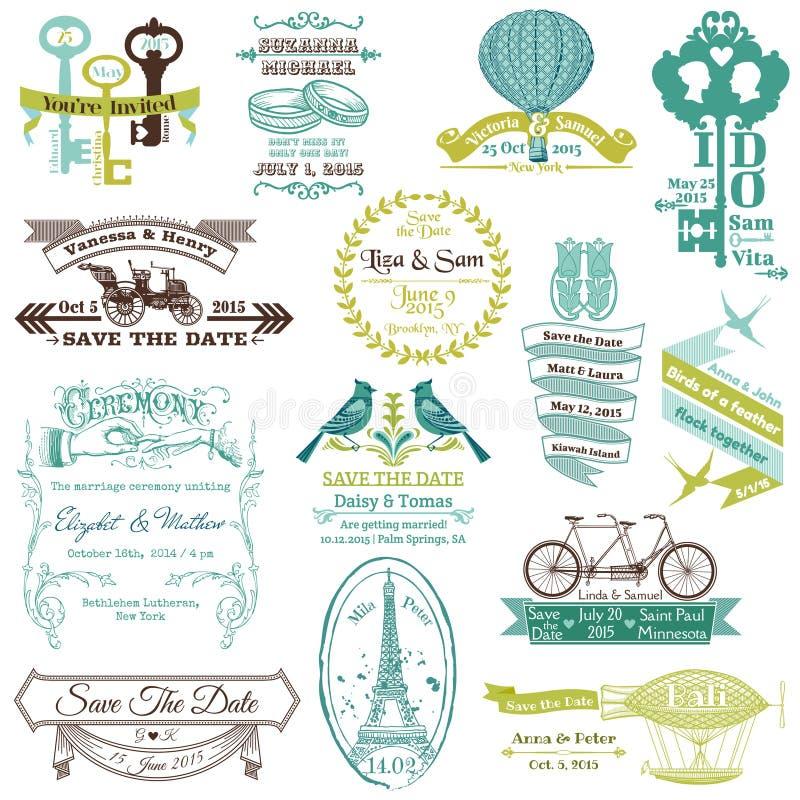 Ślubna zaproszenie kolekcja royalty ilustracja