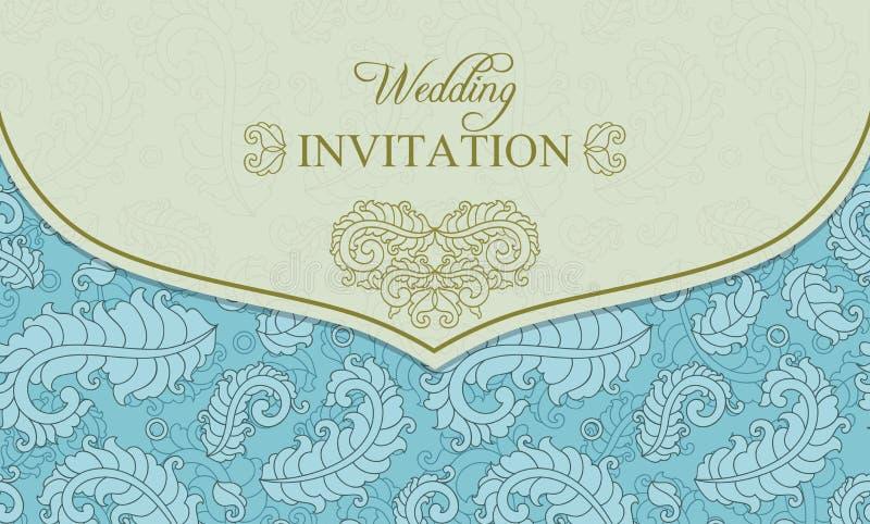 Ślubna zaproszenie koperta, błękit i beż, royalty ilustracja