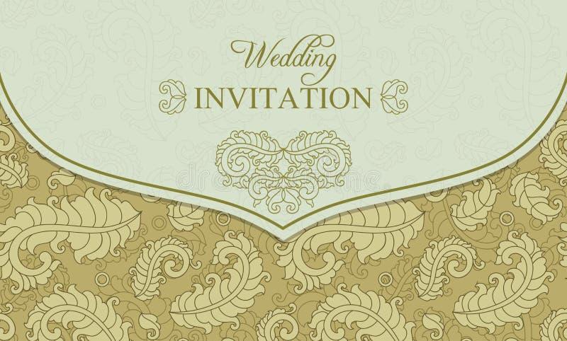 Ślubna zaproszenie koperta, złoto i beż, royalty ilustracja