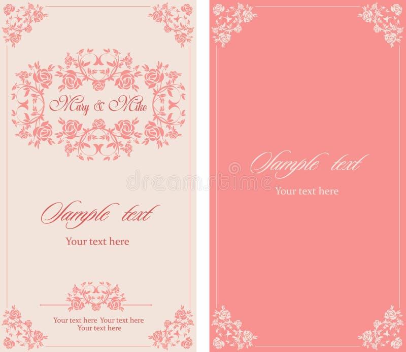 Ślubna zaproszenie rocznika karta z kwiecistymi i antykwarskimi dekoracyjnymi elementami ilustracji