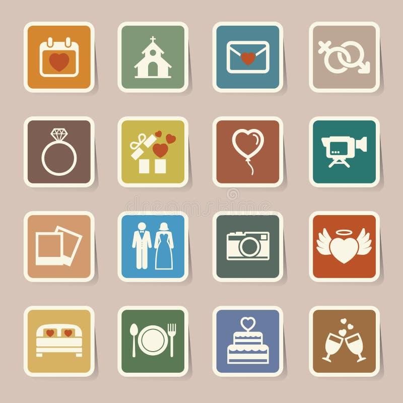 Ślubne ikony ustawiać. ilustracji