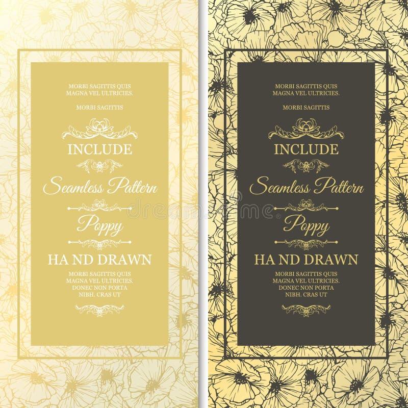 Ślubne karty z kwiatami jak bezszwowego wzór ilustracji