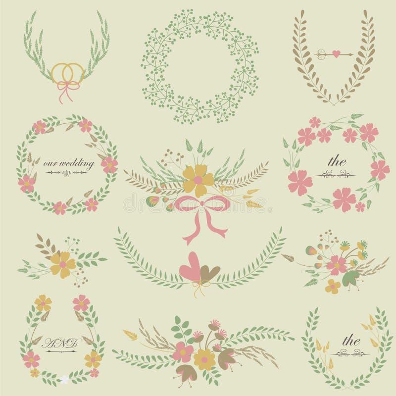 Ślubne kwieciste ramy ilustracji