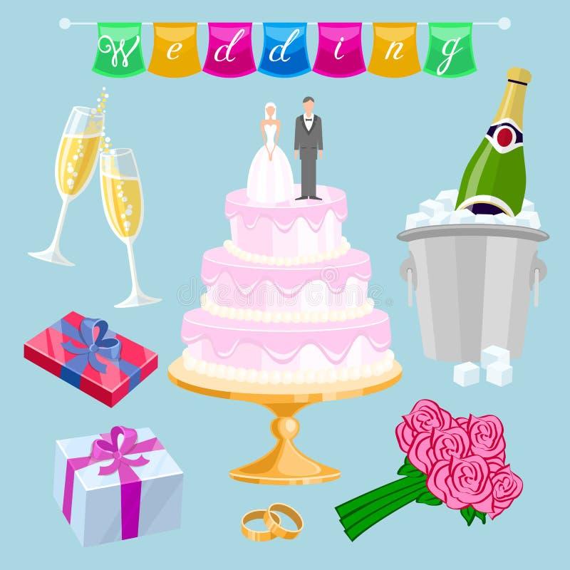 Ślubne rzeczy ilustracja wektor