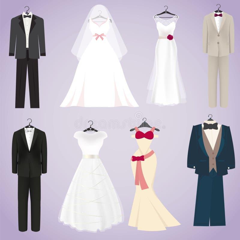 Ślubne suknie i kostiumy ilustracja wektor